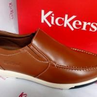 Sepatu Casual Pria Slip On Kickers Sandro Coklat Muda