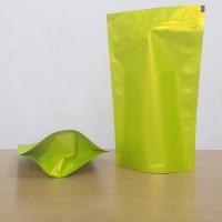 kemasan kopi standing pouch hijau doff kemasan kripik 14x23 cm