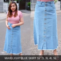 Rok Jeans Wanita Maxi Light Blue Skirt Panjang Button Big Size Murah
