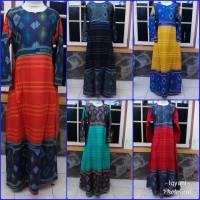 Gamis/dress dewasa katun songket murah dan elegan