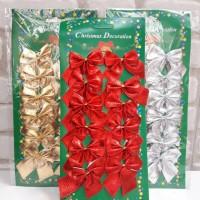 Pita Natal Merah Emas Silver isi 12 Hiasan Krans Tinsel Pita Natal