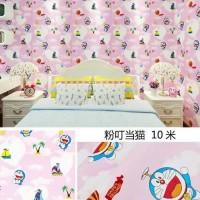 Wallpaper doraemon pink 45 cm x 10 mtr ~ Wallpaper sticker dinding