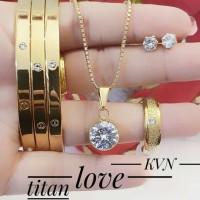 titanium set perhiasan kalung gelang cincin lapis emas 24k 2226