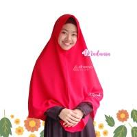 Khimar Madania Merah, by elheeya hijab, bahan bubblepop, grosir jilbab