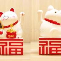 Patung Kucing Hoki 14cm Sedang Maneki Neko Yuan Bao Rezeki Fu Uang