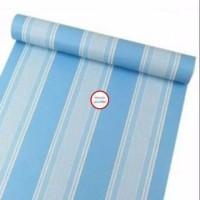 wallpaper dinding sticker salur biru 45 cm x 10 m