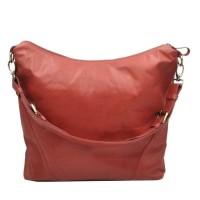 [L] Tote shoulder bag wanita kulit sapi asli merah polos tas kuliah