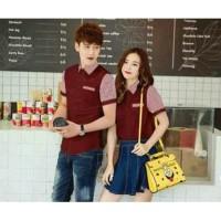 4215 Couple fashion korea baju cp kemeja cowok cewek merah maroon 6123