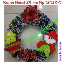 Krans wreth ring natal 28 cm hiasan gantungan pintu natal