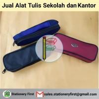 Kotak Tempat Pensil Resleting Kain Premium Murah Polo Kecil Ecer
