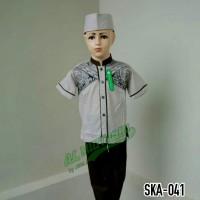 Fashion Muslim Setelan Baju Koko Anak Lengan Pendek Abu Muda SKA 041 - 13-14 tahun, Abu-abu Muda