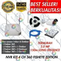 PAKET CCTV WIRELESS NVR KIT 1080P 4 KAMERA 360 PANORAMIC + HDD