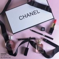 Chanel Gift Set 5 pcs Paket Kosmetik Parfum Lipstick Mascara Eyeliner