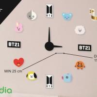 Jam Dinding Raksasa DIY Acrylic Exclusive Custom Besar Model BTS BT21