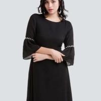Baju Black Chic Dress/Dress Natal/Dress Imlek/Dress Pesta import