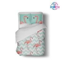 custom bed cover set flamingo biru hijau 1,5m x 2,2m