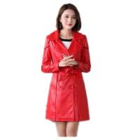 Jual murah Autumn And Winter New Long Slim Women Leather Jacket Fe