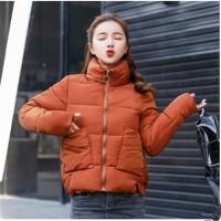 Jual murah New 2018 Fashion Winter Jacket Women Stand Collar Solid
