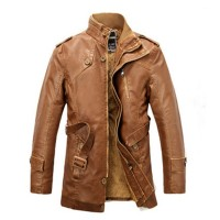 Jual murah 2017 New Fashion Autumn Winter Leather Jacket Men Warm
