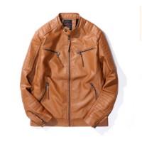 Jual murah Top Quality Mens Motorcycle Leather jacket Men Slim Fit