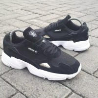 Sneaker Sepatu Adidas Falcon Black White Original
