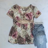 satin babydoll blouse floral print