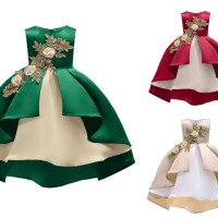 BAJUKIDDIE AMELIA DRESS . dress anak import pesta birthday natal imlek - 3-4 tahun, Gold