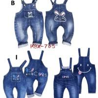 Celana Jeans Overall Jumpsuit Baju Kodok Anak Perempuan Love