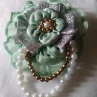 Bros Hijab/brooch jilbab bunga hijau tosca
