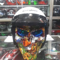 paket helm cargloss retro + goggle ghost rider OSBE