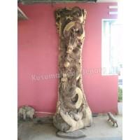 Hiasan Dekorasi Relief Naga Api Kayu Trembesi Utuh (Tinggi 320cm)