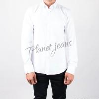 Kemeja Pria Polos Lengan Panjang Cowok Slimfit Casual Formal - Putih