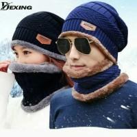 Topi Kupluk Rajut Beanie dan Syal 1 set untuk Winter Musim Dingin