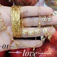 xuping set perhiasan anak kalung gelang cincin lapis emas 24k 2835
