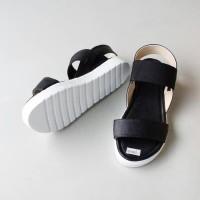 Safa Shoes - Sandal Sendal Platform Wanita Du Strech Karet - Hitam