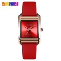 Jam Tangan Wanita Cewek SKMEI Original Tali Kulit 1432 Anti Air Merah