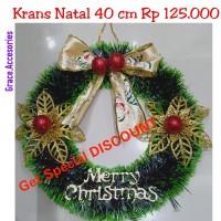 Hiasan Krans wreath ring natal 40 cm bunga GOLD