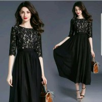 LONG MAXI DRESS BRUKAT PESTA HITAM/ MAROON/ NAVY ALEGRIA GUTTE