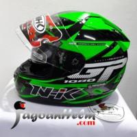 NHK Helm GP1000 STAR |GP-1000 Green FLUO -Silver| GP 1000 Double VISOR