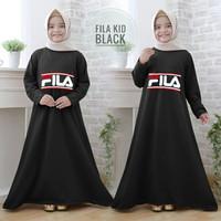 Best Seller Gamis anak fila kid hitam maxi dres baju muslim anak
