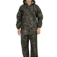 Jas Hujan Setelan Baju Celana Loreng Army 2M Jaket Rain Coat Hijau Tua