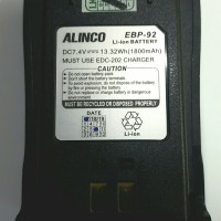 EBP-92 ORIGINAL Battery HT ALINCO DJ CR X1, CR X3, CR X4 & CR X5