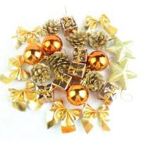 XD24 isi 24 gold aksesoris natal ornamen dekorasi pohon gantungan