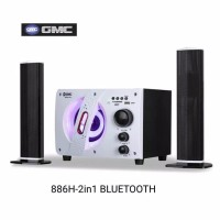 GMC 60 Watt 2 in 1 Speaker Multimedia Bluetooth - 886H