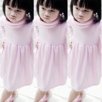 Turtle neck shirt dress anak perempuan pink