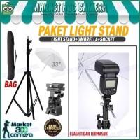 "Paket Light Stand Strobist (Light Stand + Flash Holder B + Payung 33"")"