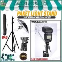"Paket Light Stand (Light Stand+Flash Holder B+Payung Hitam 33"")"