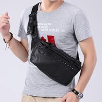 Tas Selempang Kulit Pria Wanita Waist Bag import 9002 - Hitam