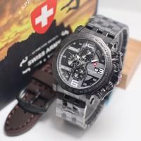 Jam Tangan Pria Swiss Army Rantai Bonus Tali Kulit - Case Hitam