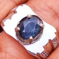 Cincin Batu Mulia Natural Blue Safir Sapphire Thailand Mulus Asli Alam
